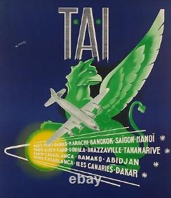 Affiche Originale Aviation W. Pera TAI Afrique Asie Indochine 1950