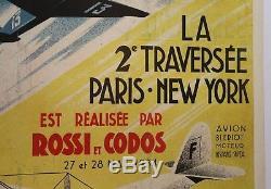 Affiche Originale Avion Caudron Coupe Deutsch 1934 Costes Bellonte Hispano Suiza