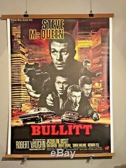 Affiche Originale BULLITT 1968 STEVE Mac QUEEN Version trés RARE EntoiléE