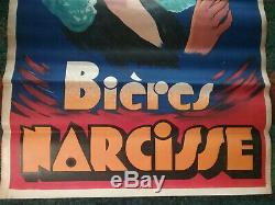 Affiche Originale Biere NARCISSE MAPATAUD à Limoges Brasserie Années 1930