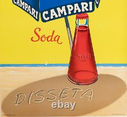 Affiche Originale Campari Soda Disseta Italie Liqueur Plage 1970