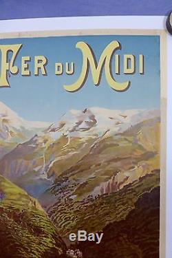 Affiche Originale Chemins de Fer du Midi Eaux Bonnes, Luchon, Pic du Ger