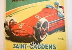 Affiche Originale Circuit Saint Gaudens Comminges 5 Aout 1951 Course Auto Moto