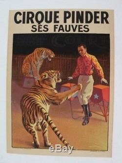 Affiche Originale Cirque Circus Poster Pinder Fauves Dompteur Tigres Bedos