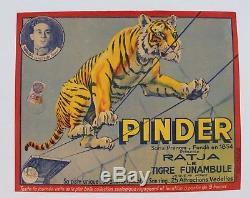 Affiche Originale Cirque Circus Poster Pinder Ratja Tigre Funambule Gargas Dompt