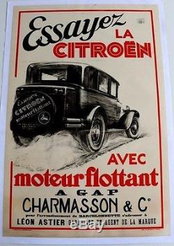 Affiche Originale Citroen Pierre Louys 1932 C4 Rosalie Gap Barcelonette