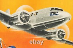Affiche Originale Cros M. Sabena Aviation Congo Belge Avion 1939