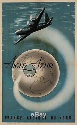 Affiche Originale DAD Aigle Azur France Afrique du Nord Algérie 1950
