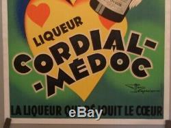 Affiche Originale Entoilée Liqueur Cordial-médoc Henry Le Monnier Vers 1930