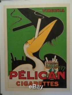 Affiche Originale Entoilée Pelican Cigarettes Ch. Yray Vers 1930