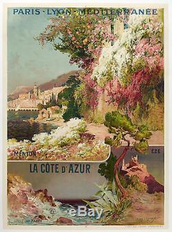 Affiche Originale Ernest Louis Lessieux PLM Côte dAzur Menton Eze -1890