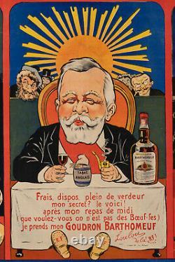 Affiche Originale Eugène Ogé Goudron Bartomeuf Liqueur Alcool 1904