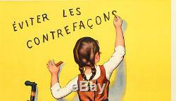 Affiche Originale F. Bouisset Chocolat Menier éviter les contrefaçons 1893