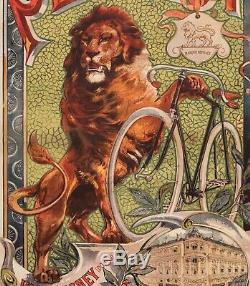 Affiche Originale F. Tamagno Peugeot Cycles Lion Bicyclette Vélo 1895