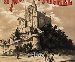 Affiche Originale Fraipont Gustave Mont st Michel Normandie Pêche 1895