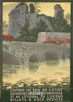 Affiche Originale Geo Dorival Chemins de Fer Vendée Clisson 1920