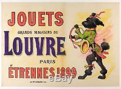 Affiche Originale Grands Magasins du Louvre Paris Caniche Royal 1899