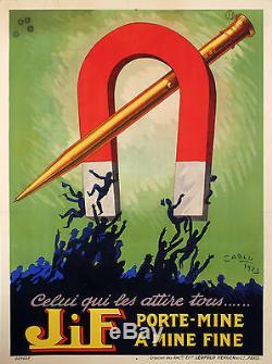 Affiche Originale Jean Carlu JiF Porte-Mine Porte-Plume Stylo 1923