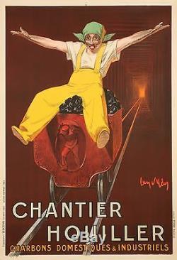 Affiche Originale Jean dYlen Chantier Houiller Charbon industriel 1924