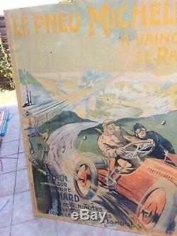 Affiche Originale Le Pneu Michelin A Vaincu Le Rail 1905. Ernest Montaut