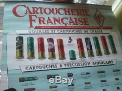 Affiche Originale MANUFRANCE CARTOUCHERIE FRANÇAISE Chasse Tir Armes Fusil