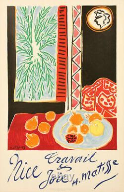 Affiche Originale Matisse Henri Nice Travail Joie Fauvisme 1947