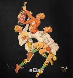 Affiche Originale Mich Bec Kina Aperitif des sportifs Rugbyman 1921