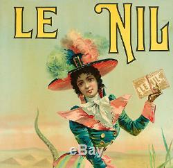 Affiche Originale Papier à Cigarette JOB Le Nil Pyramide Crocodile 1900