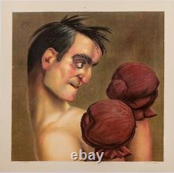 Affiche Originale Paul Baroni Sport Boxe Boxeur Caricature 1910