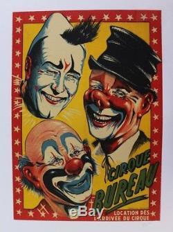 Affiche Originale Poster Circus Cirque Bureau Clown Blanc Auguste