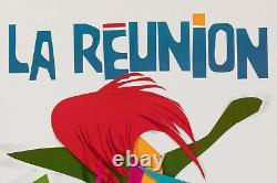 Affiche Originale Raymond Pages Air France La Réunion Tourisme 1971