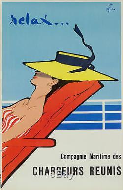 Affiche Originale René Gruau Cie Maritime Chargeurs Réunie Relax 1954
