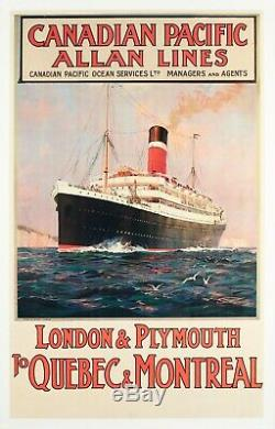 Affiche Originale Rosenvinge Allan Lines Canada Londres Québec 1890