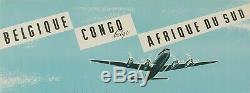 Affiche Originale Sabena Congo Belgique Afrique du sud Aviation 1950
