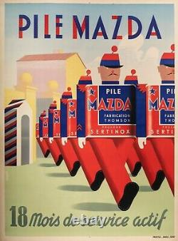Affiche Originale Simon A. Pile Mazda General Electrique Thomson 1939