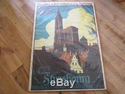 Affiche Originale Strasbourg Chemins Fer Alsace Lorraine Allenbach 1924 76x106