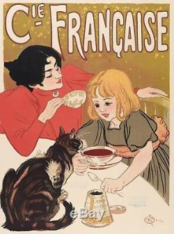 Affiche Originale Théophile Steinlen Chocolats et Thés Chats 1895