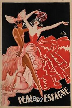 Affiche Originale Zig Peau d'Espagne Mistinguette Josephine Baker 1934