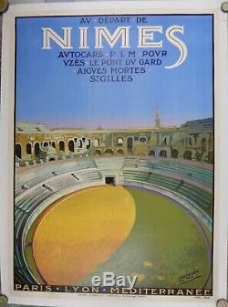 Affiche Originale entoilée 1926. ARENES NIMES par Leo Lelee