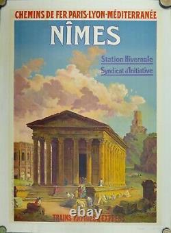 Affiche Originale entoilée c 20 NIMES par j Granes d'après H Robert