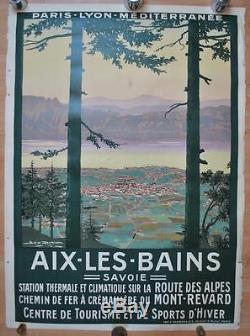 Affiche PLM Originale AIX LES BAINS Savoie Mont-Revard Route des Alpes Dorival