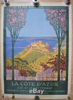 Affiche PLM Originale LA CÔTE D'AZUR EZE ET LE CAP FERRAT Géo Dorival