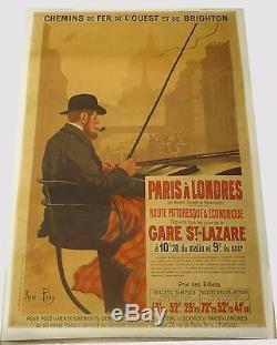 Affiche Paris à Londres chemin de fer de l'ouest et de brighton RENE PEAN 1905