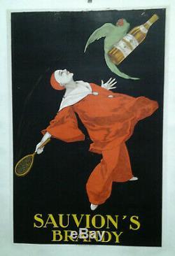 Affiche Pub Ancienne Sauvion' S Brandy Stall 1925 Pierrot Perroquet