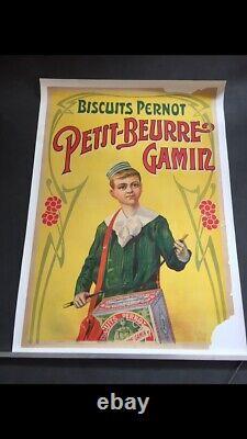 Affiche Publicitaire Ancienne, Biscuits Pernot, 120x80cm, entoilée