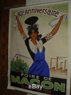 Affiche Publicitaire FOIRE MACON Mai 1934 Destinel poster vigne vin Solutré