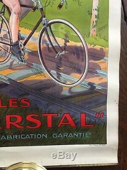 Affiche Publicitaire originale Ancienne Cycles Herstal