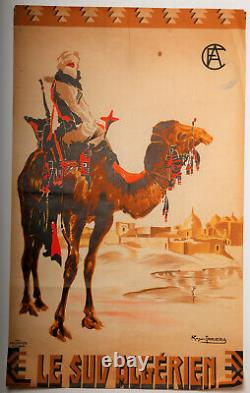 Affiche Roger Irrera Algiers 8 1937 Le Sud Algerien Cfa Baconnier Alger Z203