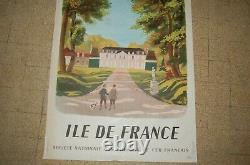 Affiche SNCF Ile de France 1946 Moulinsart HERGE signé LF Dominique