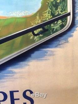 Affiche SNCF Visitez la France ALPES Lithographie Originale de 1952